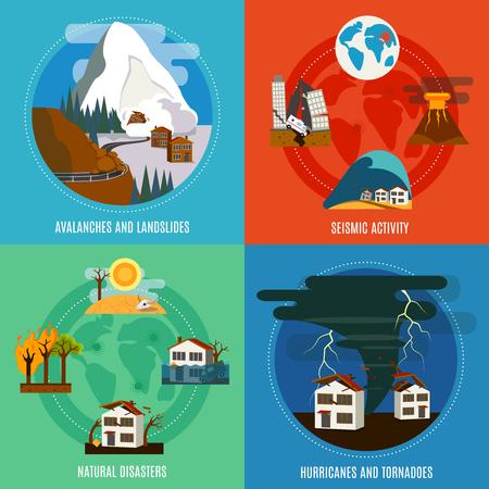 catastroph�: Catastrophe naturelle 4 ic�nes plates banni�re carr� avec les ouragans de l'activit� sismique et tornades abstraite isol� illustration vectorielle