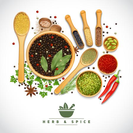 Poster van verschillende koken kruiden en specerijen in houten schotel op witte achtergrond realistische vector illustratie