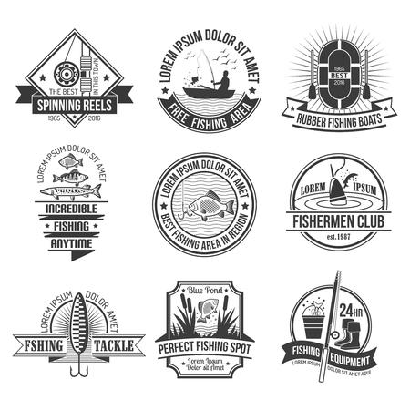Fishing black white emblems set with fishing club and equipment symbols flat isolated vector illustration