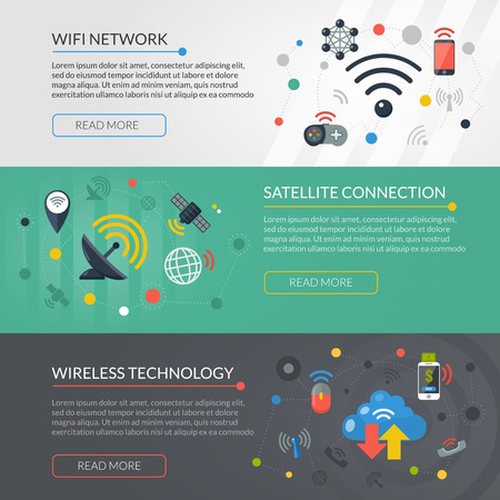 wireless connection: Wireless satellite connection technology online information for wifi network 3 flat interactive banners set abstract isolated vector illustration