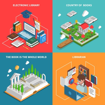librarian: World of books concept isometric icons set with electronic library and librarian symbols isolated vector illustration Illustration