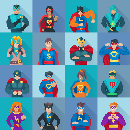 Superhero square shadow icons set with power symbols flat isolated vector illustration Ilustração