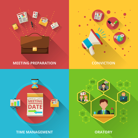 preparation: Meeting design concept set with preparation conviction management and oratory flat icons isolated vector illustration Illustration