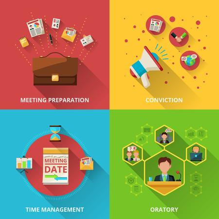 Treffen Design-Konzept mit der Vorbereitung Überzeugung Management und Rede flachen Icons isoliert Vektor-Illustration festgelegt