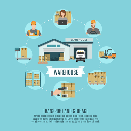 storing: Warehouse facilities and workers storing  accounting and moving cargo concept flat icons combination poster abstract vector illustration