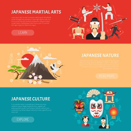 arts symbols: Japan horizontal banners set with martial arts and nature symbols flat isolated vector illustration
