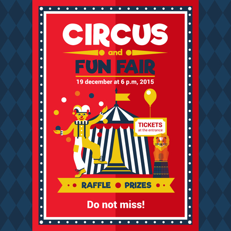 circus clown: Funfair chapiteau travelling circus performance announcement retro style red poster with lion and clown juggler vector illustration