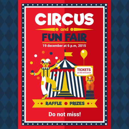 circo: Parque de atracciones Carpa de circo que viaja anuncio rendimiento estilo retro cartel rojo con el le�n y la ilustraci�n vectorial payaso malabarista