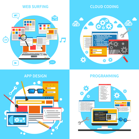 web development: Web development concept icons set with web surfing cloud coding and programming symbols flat isolated vector illustration Illustration