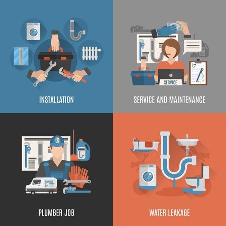 Online sanitair dienst voor sanitaire installaties onderhoud en lekkage tot vaststelling van 4 vlakke pictogrammen vierkante abstracte illustratie