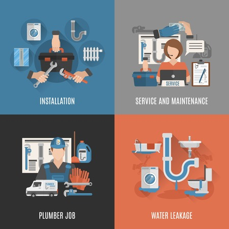 Online vízvezeték szolgáltatás egészségügyi berendezések karbantartási és szivárgás rögzítő 4 lapos ikonok tér absztrakt vektoros illusztráció