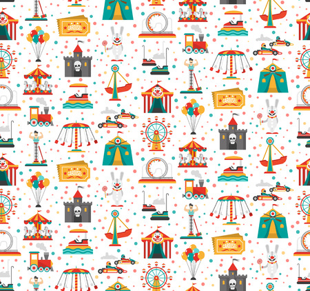 amusement: Travelling carnival amusement park show fair seamless festive pattern with retro tickets clown and castle vector illustration