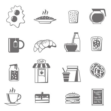 corn flakes: Breakfast black white icons set with croissants tea and jam flat isolated vector illustration