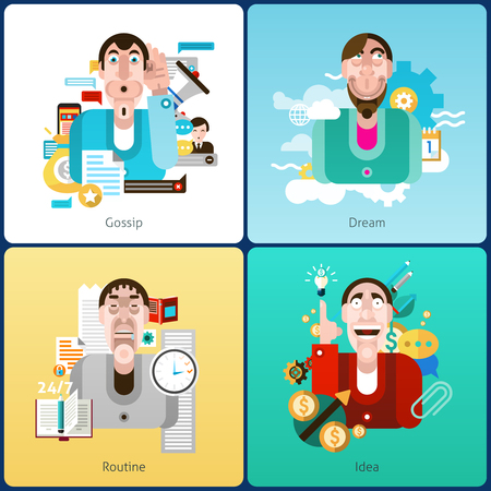 social web: Emotion design concept set with gossip dream routine and idea flat icons isolated vector illustration