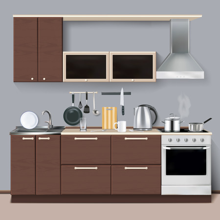 Modern kitchen interior in realistic style with cabinets shelves utensils oven and cooker hood realistic vector illustration