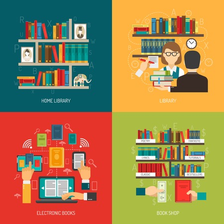 shelf: Reading concept 4 flat icons composition poster with home online electronic library and  book store vector illustration
