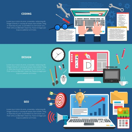 mobile advertising: Web development horizontal banner set with coding seo and design elements isolated vector illustration