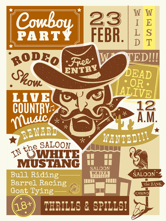 alive: Cowboy poster with saloon and wanted dead or alive symbols flat vector illustration