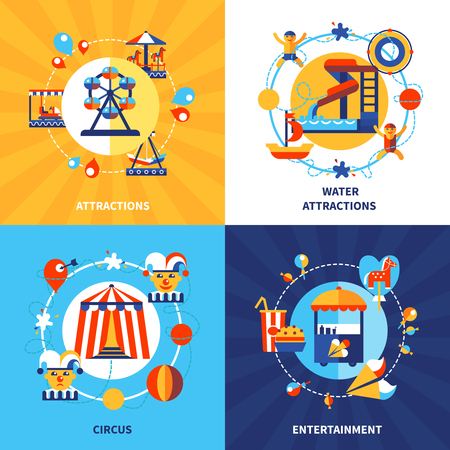 fairground: Amusement park fairground attractions and traveling circus show 4 flat icons square composition poster isolated vector illustration Illustration