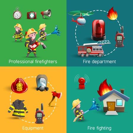 brandweer cartoon: Brandweerpersoneel service-afdeling uniform en accessoires 4 beeldverhaalpictogrammen vierkante samenstelling banner abstract geïsoleerde vector illustratie Stock Illustratie