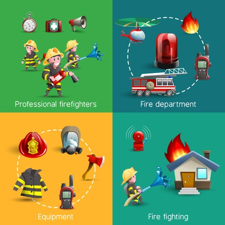 brandweer cartoon: Fire fighters department service uniform and accessories 4 cartoon icons square composition banner abstract isolated vector illustration Stock Illustratie