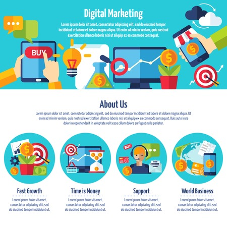sites: One page of digital marketing web site with titles and color icons about different methods of financial growth Illustration