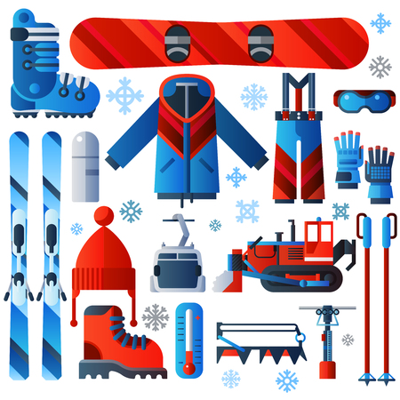 slopes: Flat color isolated skiing icons set of complete ski and snowboard outfit and ski resort equipment on white background with snowflakes vector illustration