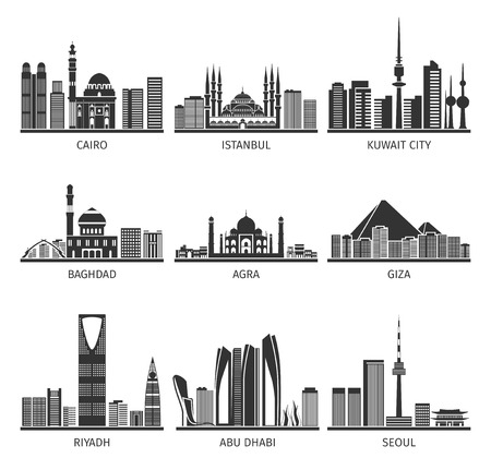Eastern capitals famous cityscapes with modern buildings and historical landmarks black icons set abstract isolated vector illustration