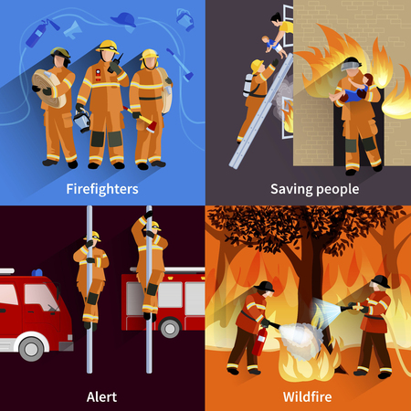 wildfire: Firefighter people 2x2 design compositions of firefighters crew alerting wildfire and saving people flat vector illustration Illustration
