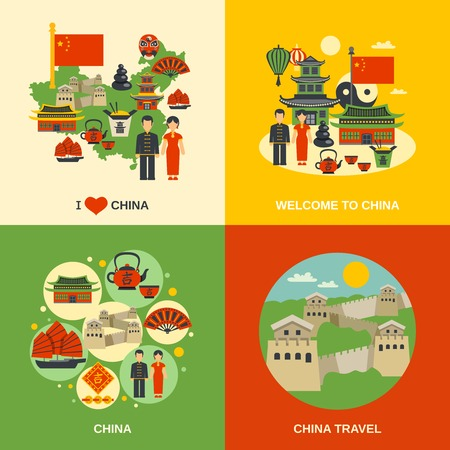 culture: Chinese culture for travelers 4 flat icons square with traditional food  and sightseeing abstract isolated vector illustration Illustration