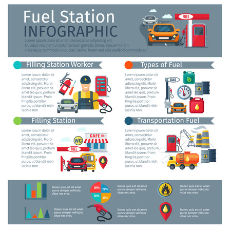 Gas station infographic set with worker types of fuel and transportation symbols flat vector illustration