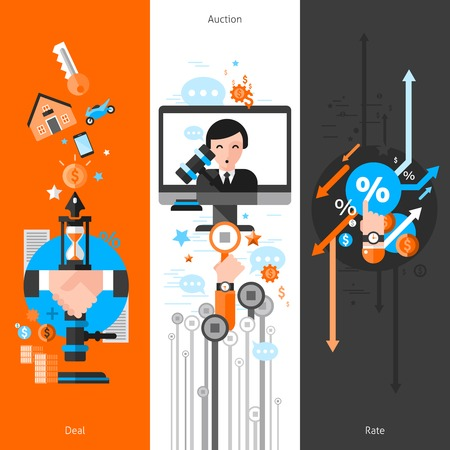 bidding: Three vertical auction banners with elements of deal bidding process and rate icons flat vector illustration Illustration