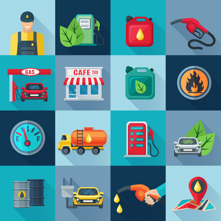 Benzinestation set met brandstof en olie-industrie en symbolen vierkante pictogrammen schaduw flat geïsoleerde vector illustratie Vector Illustratie