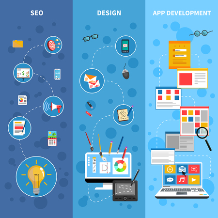 copywriting: Programming vertical banners set with design and app development symbols flat isolated vector illustration Illustration