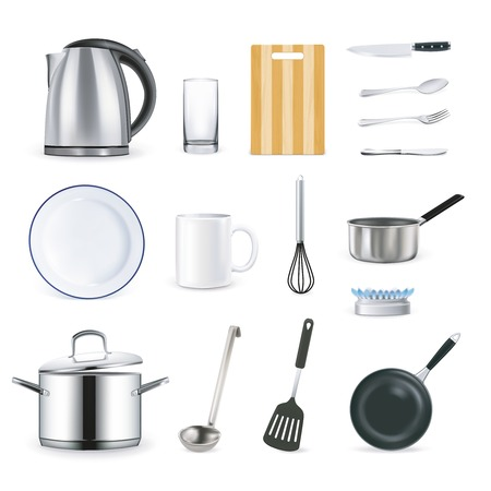 stainless steel kitchen: Kitchen utensils icons collection in realistic style on white background with kettle pan whisk glass ladle mug isolated vector illustration