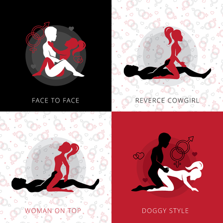 Kama sutra love position square design concept set of reverse cowgirl face to face woman on top and doggy style flat vector illustration Illustration