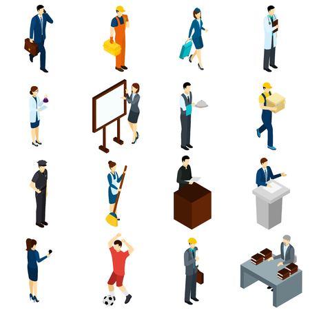 Los profesionales en iconos isométrica de trabajo conjunto con la presentadora empresarios abogado profesor aire y camarero resumen ilustración vectorial aislado