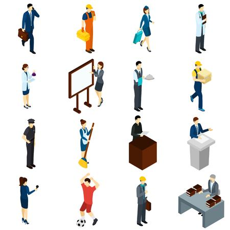 Professional people at work isometric icons set with teacher lawyer businessmen air hostess and waiter abstract isolated vector illustration Ilustrace