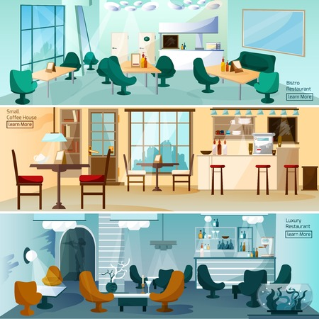 coffee table: Luxury hotel restaurant bar interior 3 flat interactive icons banners set for homepage abstract isolated vector illustration Illustration