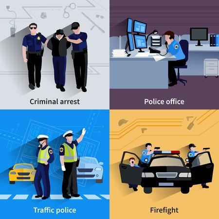 justiz: Polizist Personen 2x2 Design Zusammensetzungen der Verkehrspolizei Strafarrest Polizeidienststelle und Schie�erei flach Schatten Vektor-Illustration