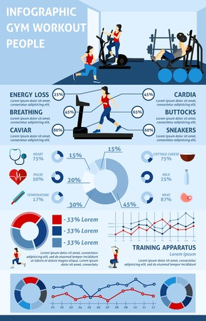 strength training: Gym workout infographics set with people doing sports and charts vector illustration
