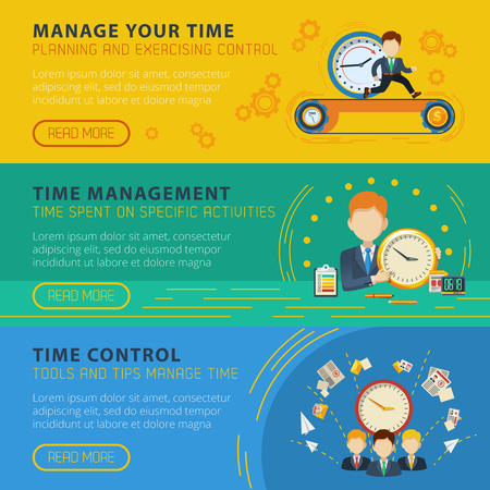 more information: Time management and control 3 flat horizontal interactive banners set for more information isolated vector illustration Illustration