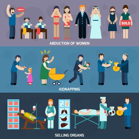 abduction: Human trafficking 3 flat horizontal banners with women abduction and illegal organs trade abstract isolated vector illustration