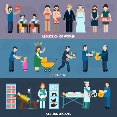 abuso sexual: La trata de personas 3 banners horizontales planas con mujeres secuestro y órganos comercio ilegal resumen ilustración vectorial aislado