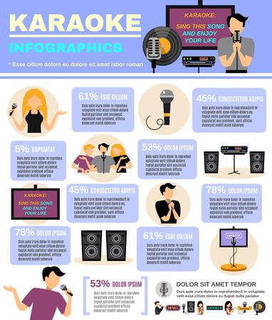 audio equipment: Karaoke infographics set with audio equipment and people singing vector illustration