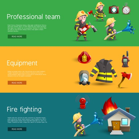rescue: Firefighters service uniform and equipment information 3 horizontal banners webpage design with cartoon figures pictograms abstract vector illustration
