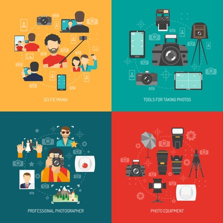 Fotografia concetto di design impostato con attrezzatura fotografica professionale e selfie icone piane isolato illustrazione vettoriale