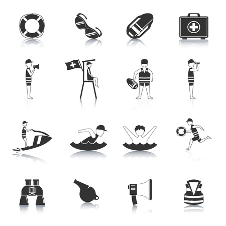 life jackets: Lifeguard water rescue and safety accessories for swimmers and surfers black icons set abstract isolated vector illustration