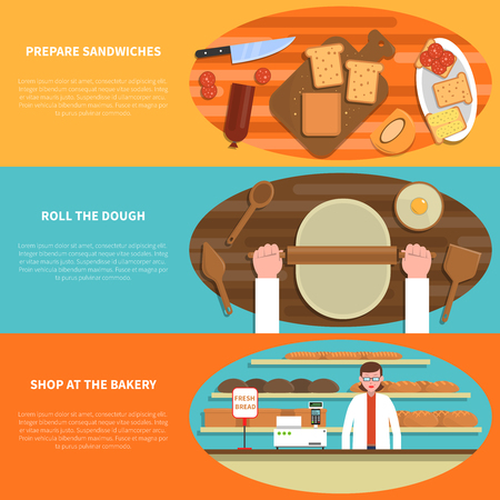 donut shop: Bakery horizontal banner set with pastry shop elements flat isolated vector illustration