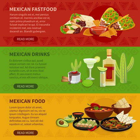 webpage: Mexican drinks snacks and famous dishes informative interactive horizontal banners set webpage flat abstract vector isolated illustration